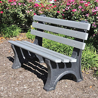 JAYHAWK PLASTICS Central Park Outdoor Bench - 4' - Gray