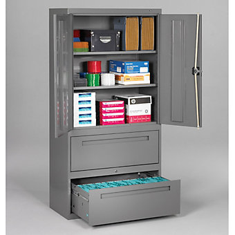"TENNSCO Lateral Files with Storage Cabinet - 36x18x72"" - Medium gray"