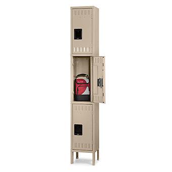 """TENNSCO 3-Tier Locker - 12x18x24"""" Openings - 1 Locker Wide - Welded - Sand"""
