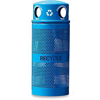 EX-CELL Waste Receptacle - Recycle Container and Lid - 34-Gallon Capacity