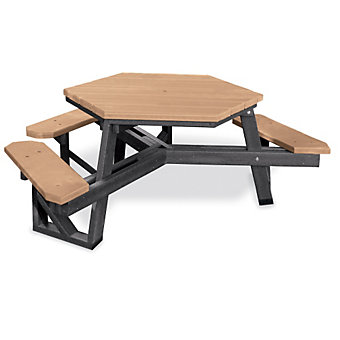 JAYHAWK PLASTICS Hex Picnic Table - 6'L - ADA-Compliant - Black Frame - Cedar