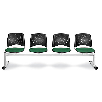 "OFM Stars Series Beam Seating - 97-1/2""W - 4 Seats - Dark green"