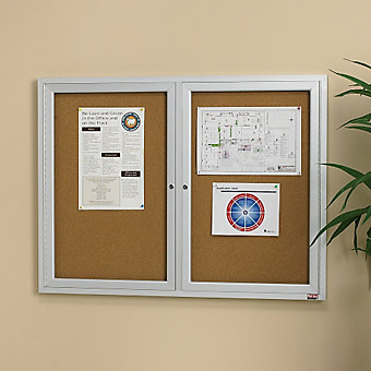 "RELIUS SOLUTIONS Aluminum Frame Cork Board - 72x30"" - 2 Door"