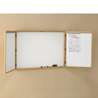"RELIUS SOLUTIONS Enclosed Dry Erase Board - 48x32"" - Walnut"