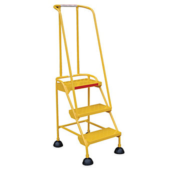 RELIUS SOLUTIONS High-Vis. Rolling Ladders - With Handrails - 4 Step