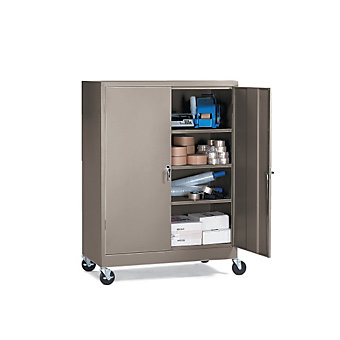 "ATLANTIC METAL Mobile Storage Cabinet - 36x24x66"" - Set-Up - Dove gray"