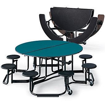 KI Round Folding Tables - 5' Diameter - Seats 4-8 Individuals - Charcoal nebula
