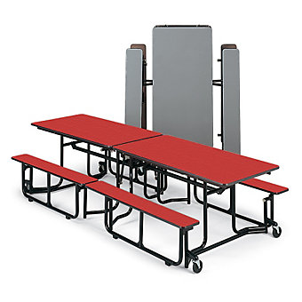 "KI Folding Table with Benches - 10'x29-1/2"" - Seats 8-12 Individuals - Black Fra..."