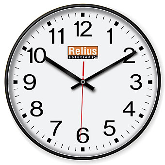 "RELIUS SOLUTIONS 12-Hour Clock - 12"" Diameter"