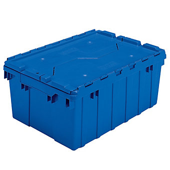 "AKRO-MILS Attached Lid Totes - 21-1/2 x15x9"" - Blue"
