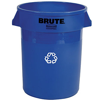 RUBBERMAID BRUTE Bulk Recycling Collector - Round Container - 20-Gallon Capacity