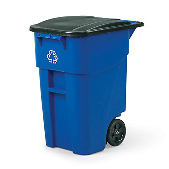 RUBBERMAID BRUTE Rollout Recycling Container - 50-Gallon Capacity