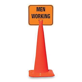 "Snap-On Signs for Traffic Cones - 14""Wx10""H - Men Working"