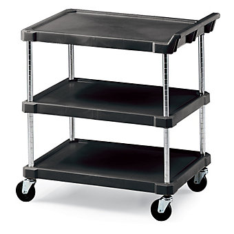 "METRO Polymer Utility Carts - 33 -3/4""Wx21 -1/2""D Shelf - 3 Shelves-Adjustable C..."