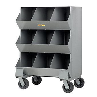 "LITTLE GIANT Mobile Storage Bin - 32x20x45-1/2"" - (9) 10-1/2 x15x12-1/2"" Bins"