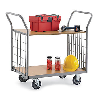 "RELIUS SOLUTIONS Wood/Steel Utility Carts with 4x2"" Mesh Sides - 39.4""Wx27.6""D S..."
