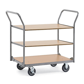 "RELIUS SOLUTIONS Standard Wood/Steel Utility Carts -39.4Wx27.6""D Shelf - 3 Shelv..."