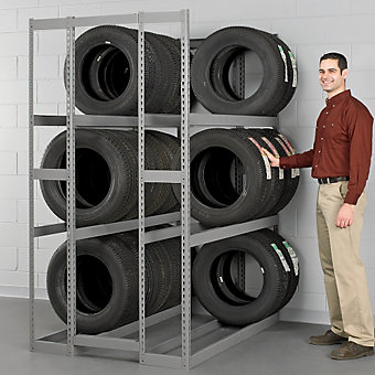 "TENNSCO Double-Entry Tire Racks - 60""Wx42""Dx144""H - Starter Unit - GRAY"