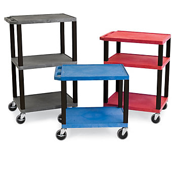 "LUXOR | H. WILSON Tuffy Standard Utility Carts - 24""Wx18""D Shelf - 34""H - Red"