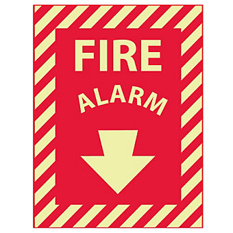Glow-In-The-Dark Safety Sign - Fire Alarm - Self-Stick Vinyl - 9x12""