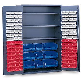 "VALLEY CRAFT Vari-Tuff Jumbo 48""W Bin Cabinets - 48x24x78"" - Includes 137 Multi-..."